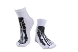 """Boney"" Skeleton Toe Socks -white on feet"