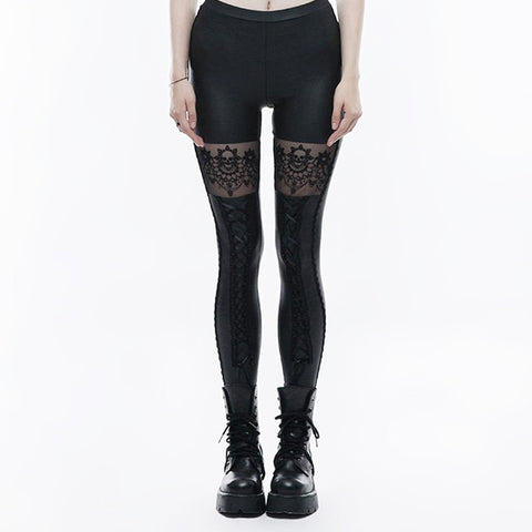 """Burlesque"" Skull Lace Leggings - front"