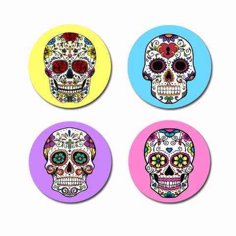 Set of 4 Wooden Skull Coasters