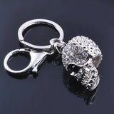 "Rhodium Plated ""Crystal Skull"" Keychain - side view"