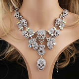 """Dia de los Muertos"" Skull Necklace - Multi-color, Silver, Gun metal, Gold"