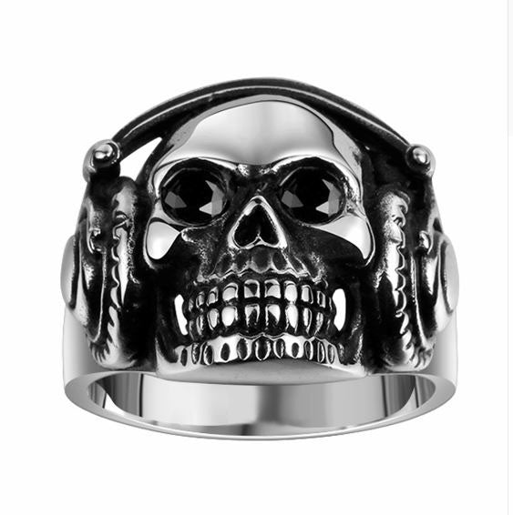 Stainless Steel Polished and Antiqued Skull Ring Size 12 Length Width