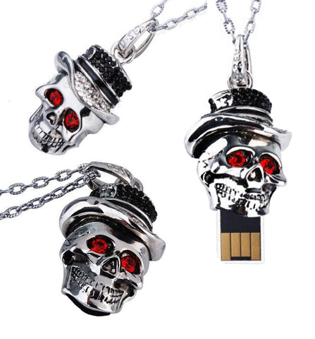 Skull Flash Drive Necklace - 3 views