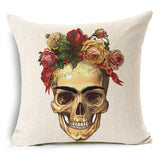 """Frida"" Skull Linen Throw Cushion Cover"