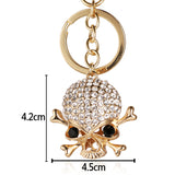 Gold Rhinestone Skull n' Crossbones Keychain - measurements