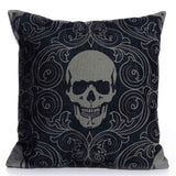 Gothic Skull Linen Throw Cushion Cover