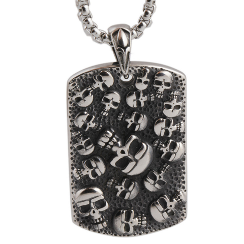 """Hall of Souls"" Skull Dog tag Necklace"