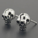 "Stainless Steel ""Itty Bitty"" Skull Stud Earrings"