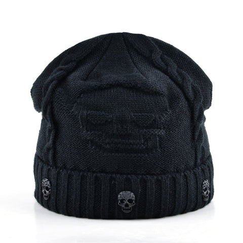 Knit Skull Winter Hat - black