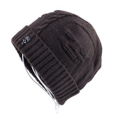 Knit Skull Winter Hat - brown