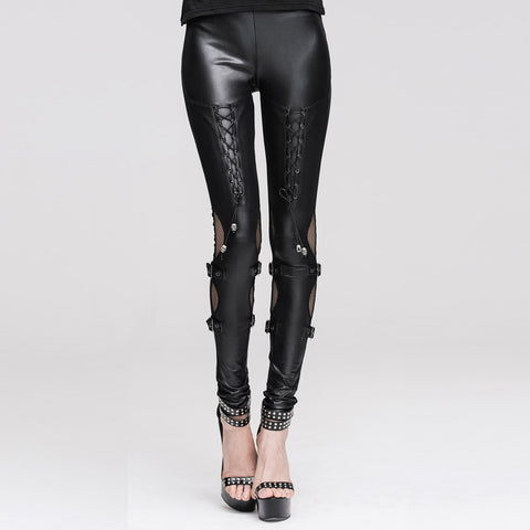 """Leather & Lace"" Skull Skinny Pants"