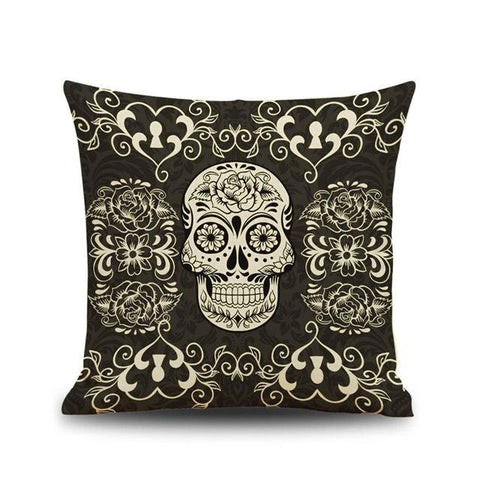 """Los Muertos"" Gothic Black Linen Skull Throw Cushion Cover"