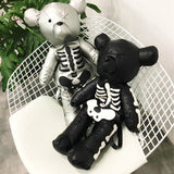 """Loved to Death"" Teddy Bear Skeleton Backpack - black and silver"