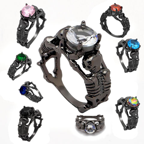 """OTP"" Black Skeleton Ring - multi view"