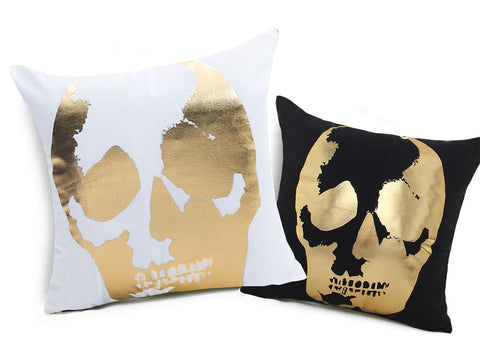 """Park Ave"" Skull Cushion Cover - white & black"