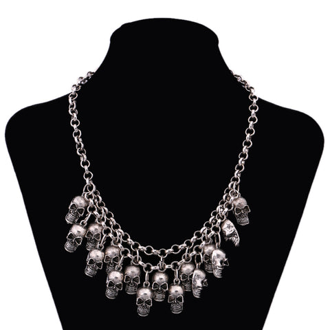 """Chain of the Dead"" Skull Necklace - antique silver"