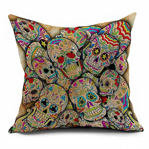 """Sugar Skull Party"" Linen Throw Cushion Cover"