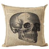 """Physiology"" Skull Linen Throw Cushion Cover"