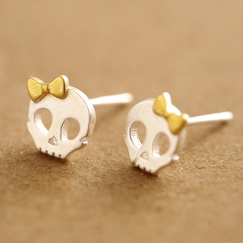 """Cutie Pie"" Sterling Silver Skull Stud Earrings"