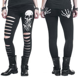 """Sliced"" Skull Leggings - front and back view"