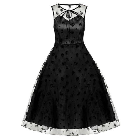 """Skull Voile"" Retro Skull Dress - black front view"
