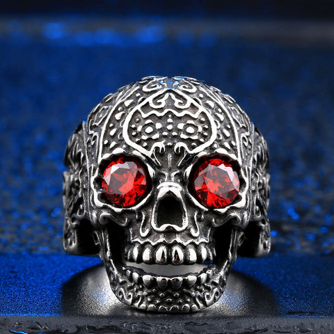 "Stainless Steel ""Ruby"" Sugar Skull Ring"