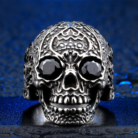 "Stainless Steel ""Melanite"" Sugar Skull Ring"