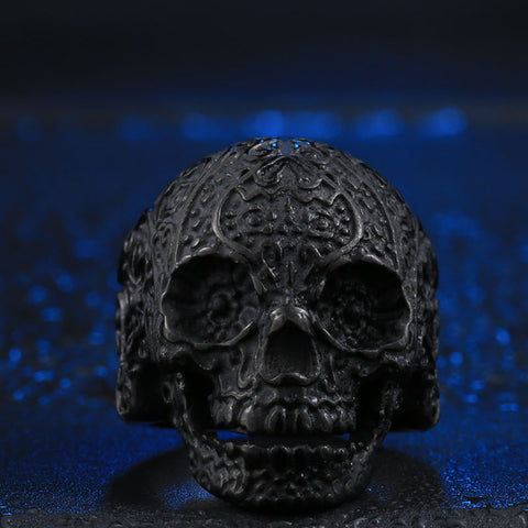 Stainless Steel Sugar Skull Ring - Black