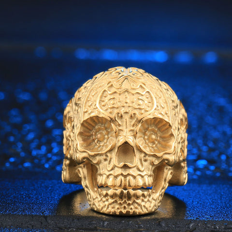 Stainless Steel Sugar Skull Ring - Gold