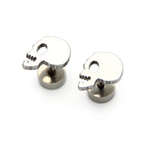 """Profile"" Stainless Steel Skull Stud Earrings"