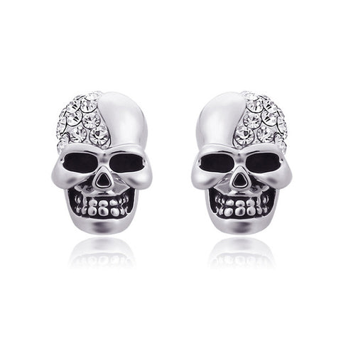 """Phantom"" Stainless Steel Skull Stud Earrings"