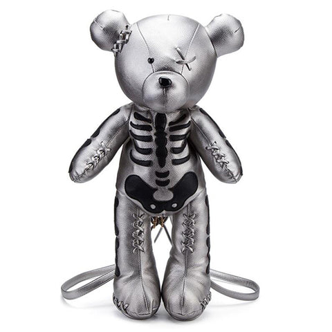 """Loved to Death"" Teddy Bear Skeleton Backpack - silver"
