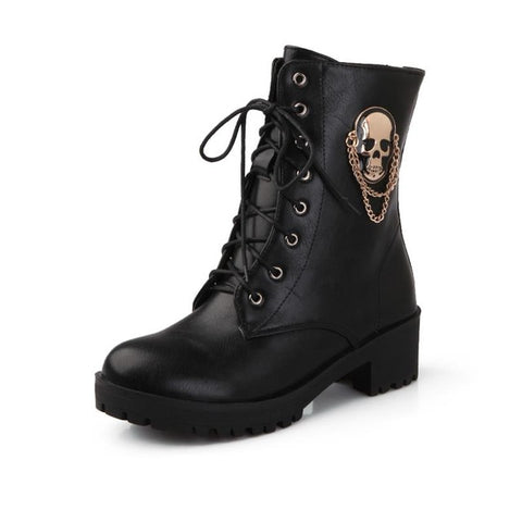 Skull Lace Up Boots - black