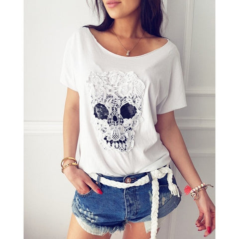 Lace Skull Casual Tee - white