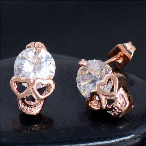 Zircon Skull Stud Earrings