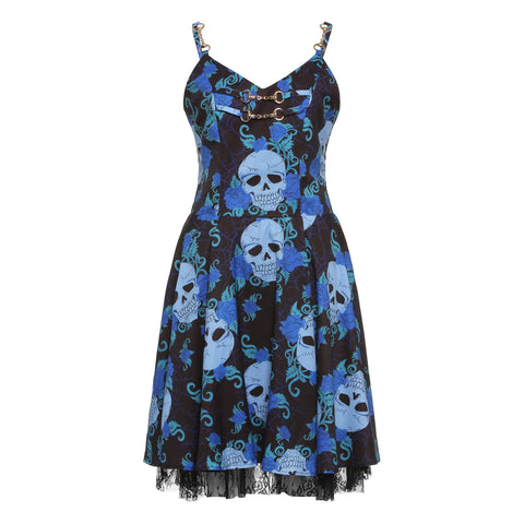 """Midnight Blue"" Skull Summer Dress"