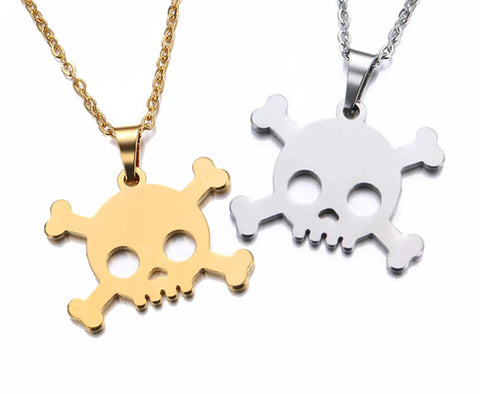 """Simply"" Skull N' Crossbones Stainless Steel Necklace - main"