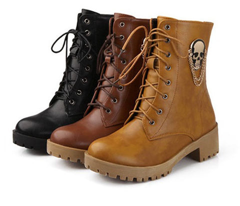 Skull Lace Up Boots - 3 colors