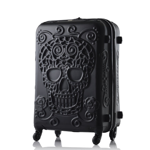 Sugar Skull Hard Side Rolling Suitcase - black