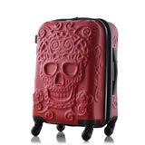 Sugar Skull Hard Side Rolling Suitcase - red