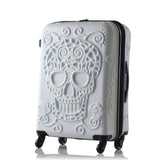 Sugar Skull Hard Side Rolling Suitcase - white