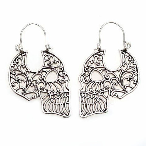 Sugar Skull Profile Hoop Earrings