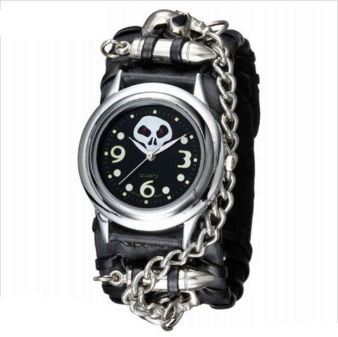 """Super Fly"" Leather Skull Watch"