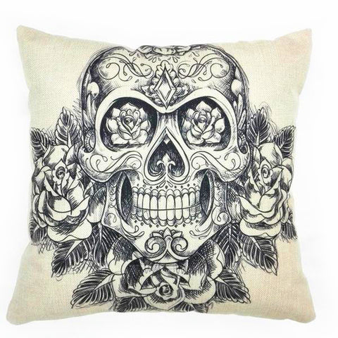 """The Cult"" Skull Linen Throw Cushion Cover"