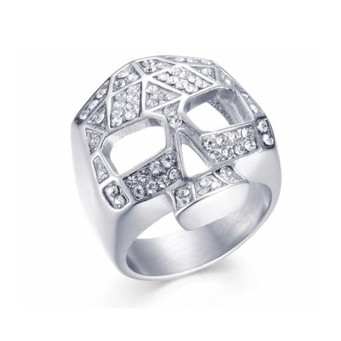 """Tiffany"" Stainless Steel & Diamond Skull Ring - silver"