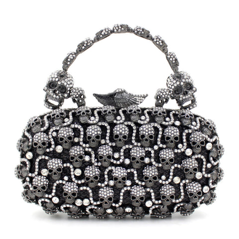 """Ursula"" Rhinestone Skull Evening Bag"