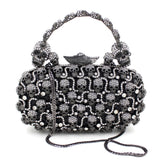 """Ursula"" Rhinestone Skull Evening Bag - with strap"
