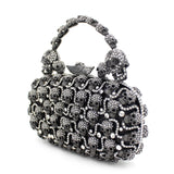 """Ursula"" Rhinestone Skull Evening Bag - side view"