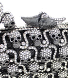 """Ursula"" Rhinestone Skull Evening Bag - close up"