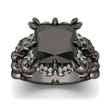 Black Skull Engagement Ring - skullpixie.com